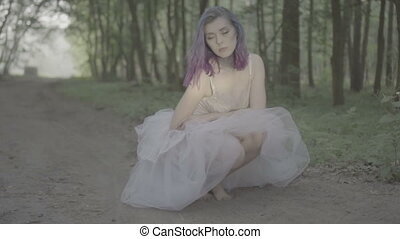 Woman posing in forest white dress - Beautiful woman in...