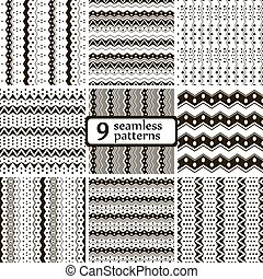 Black and white seamless tribal patterns with zigzags and dots