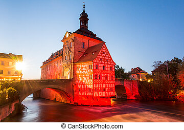 Illuminated historic town hall of Bamberg, built in the 14th...