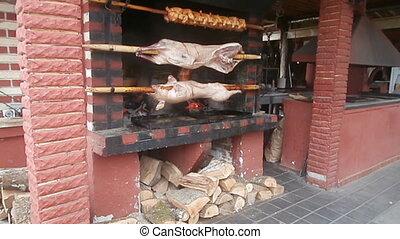 Roasting piglets