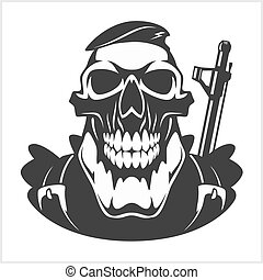 face of military man with automatic gun - skull - face of...