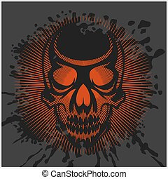 aggressive skull for motocross helmet on dark background