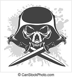 Skull and cross swords - Skull with helmet and cross swords...