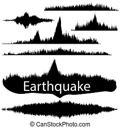 Earthquake Wave on Paper Fixing Audio Wave Set - Seismogram...