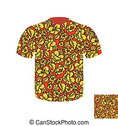 Russian folk mens T-shirt. Traditional ancient national clothes Russian people. National Khokhloma painting of flowers