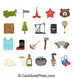Russia set icons Traditional objects of country Russian...