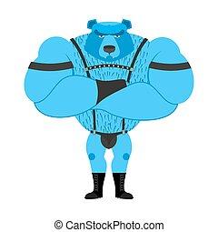 blaues, gay, Leder, groß, symbol, mächtig, bär,...