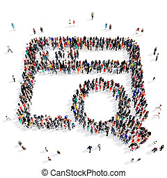 people group magnifier 3d - Large and creative group of...