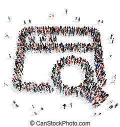 pessoas, Grupo, magnifier, 3D,