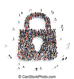 people group lock 3d - Large and creative group of people...