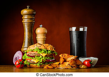 Fast Food Burger with Cola and Potatoes