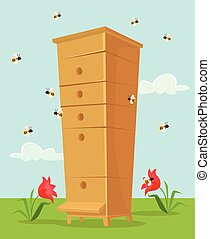 Apiary honey bee house. Vector flat cartoon illustration