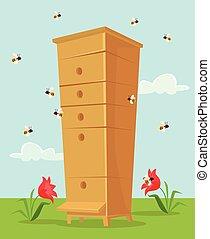 Apiary honey bee house. Vector flat cartoon illustration