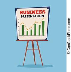 Business chart presentation. Vector flat cartoon...