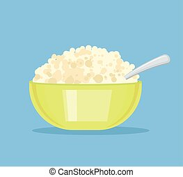 Fresh cottage cheese in plate. Vector flat cartoon...