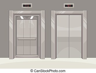 Open and closed metal office building elevator Vector flat...