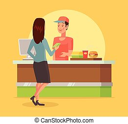 Fast food checkout counter Vector flat cartoon illustration
