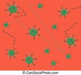 Bacteria virus and germs microorganism background. Vector...
