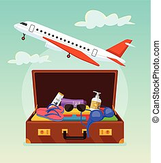 Open suitcase with tourist stuff