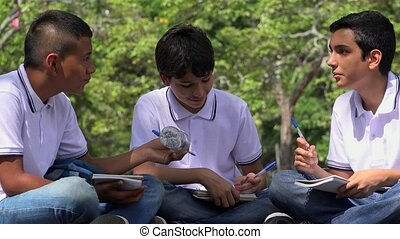 Teen Boys Thinking And Studying