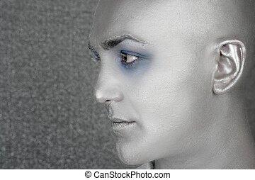 perfil, extranjero, extraterrestre, retrato, plata, hombre