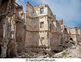 ruins - the ruins of the destroyed houses photo