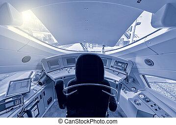 Highspeed train cockpit. - Interior of the highspeed train...