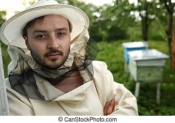 retrato, de, Un, apicultor, en, abejera,