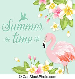 Flowers and pink flamingo - Tropical background with flowers...