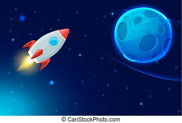 Rocket and blue planet