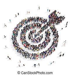pessoas, Grupo, alvo, 3D,
