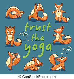 Cartoon foxes doing yoga poses card