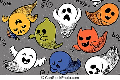 Seamless pattern with various spooky ghosts - Cute spooky...