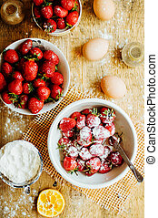 Cooking cake with fresh ingredients for preparing in...