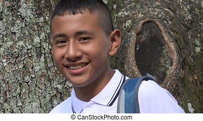 Smiling Teen Male Student