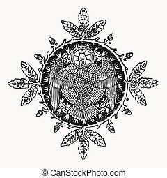 Vector engraving eagle icon with a circle wreath, ephemeral...