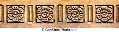 Carved Roses - Seamless carved wooden rose border pattern