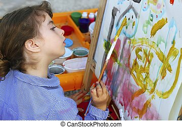 artist school little girl painting watercolors portrait -...
