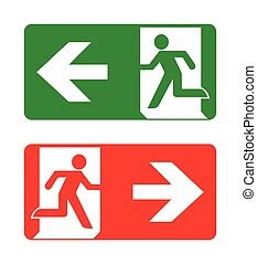 Fire emergency icons. Vector illustration. Fire exit.