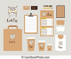 Cafe Stationery, Coffee shop Branding Mock-up, vector menu