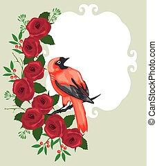 red bird - vector red bird floral background
