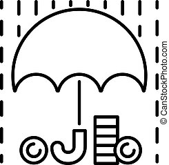 Money rain and umbrella sign icon vector - Money rain and...