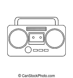 Boom box or radio cassette tape player icon in outline style...