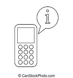 Mobile phone and speach bubble with I letter icon