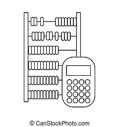 Abacus and calculator icon, outline style