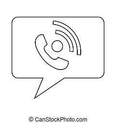 Speech bubble with handset inside icon in outline style on a...