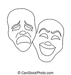 Comedy and tragedy theatrical masks icon in outline style on...