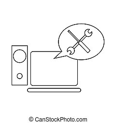Technical support, computer repair icon in outline style on...