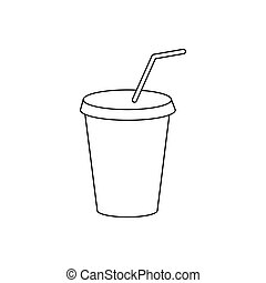 A soft drink in paper cup with lid and straw icon in outline...