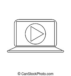 Video movie media player on the laptop icon